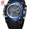 Ohsen analógico Relogio Digital Display alarme militar cronômetro preto Rubber Band relógio de pulso relógio de quartzo Casual homens relógios do esporte