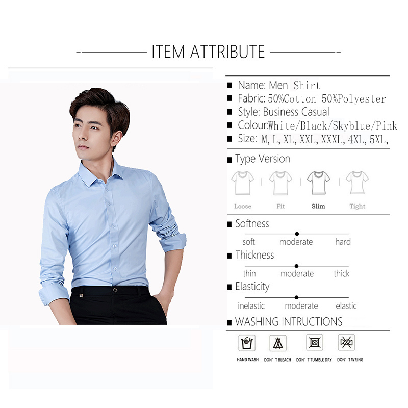 Image 4 - BROWON Brand Men Shirt Business Hydrophobic Material Long Sleeve Anti fouling Social Shirt Slim Fit Shirt Big Size 5XL-in Casual Shirts from Men's Clothing