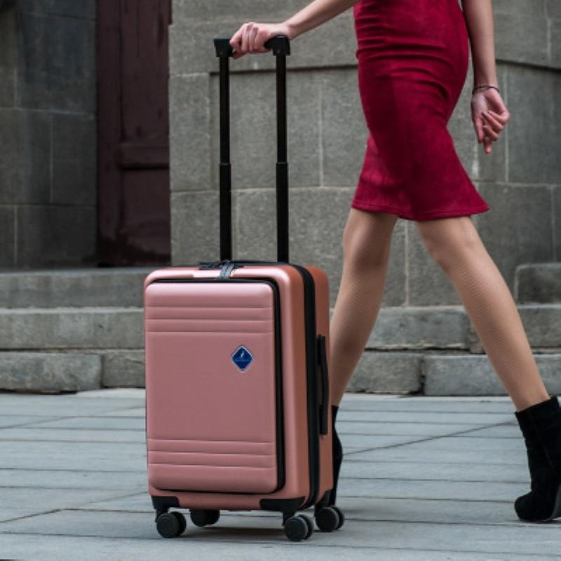 """20 """"22"""" 24 """"zoll Rolling Trolley Gepäck Tasche, Pc + Abs Reise Koffer Box, Universal Rad Fall Mit Laptop Tasche"""