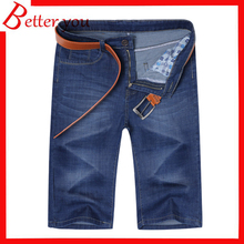 2019 mens shorts summer jeans Black blue stretch straight calf-length pants softener Jeans men shorts