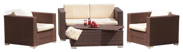 2015 Patio Furniture Outdoor Brown Wicker 4 Piece Outdoor Sofa Set