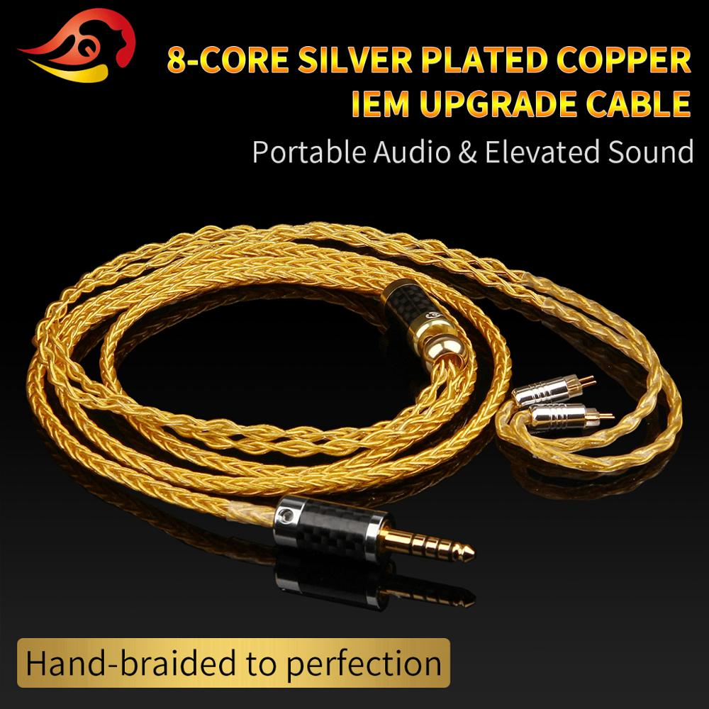 QYFANG 1 2m 8 Core Pure Gold Plated Earphone Upgrade Cable Wire 3 5 4 4mm