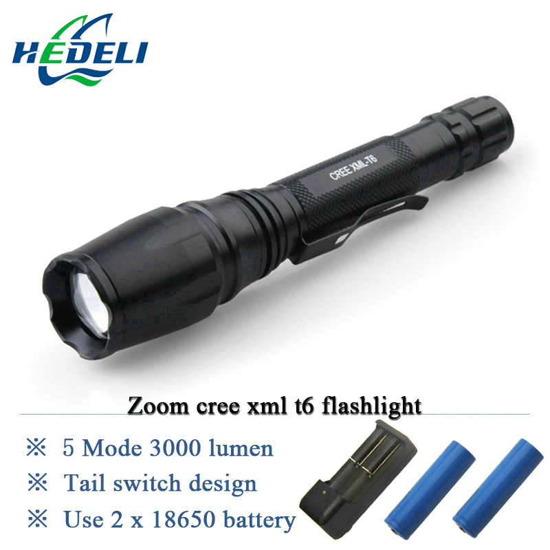 High Power Zoomable 3000 Lumen cree Xm l T6 led Flashlight  torch Lantern Lanterna Use rechargeable batteries 18650 * 2 cree xm l2 flashlight 5000lm adjustable zoomable led xm l2 flashlight lamp light torch lantern rechargeable 18650 2chargers z30