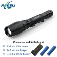 High Power Zoomable 3000 Lumen Cree Xm L T6 Led Flashlight Torch Lantern Lanterna Use Rechargeable