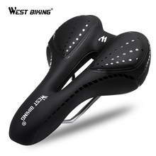 WEST BIKING Bicycle Saddle Breathable PU Leather Hollow Cushion Comfortable Road MTB Bike Saddle GEL + Polyurethane Shockproof(China)