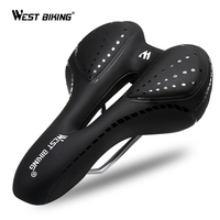 WEST BIKING Bicycle Saddlle Breathable PU Leather Hollow Cushion Comfortable GEL Polyurethane Shockproof Road MTB Bike