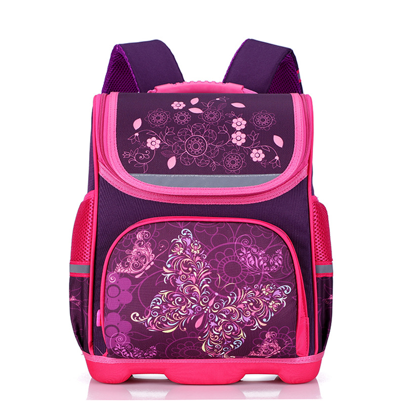 New 2018 Orthopedic Girl Backpack For School 3D Cartoon Butterfly Girls School Bags Children Primary School Grade 1-3 Kids Bag 2017 grade 1 3 5 princess girl new school backpack children cartoon cat kids backpack orthopedic school bag for boys