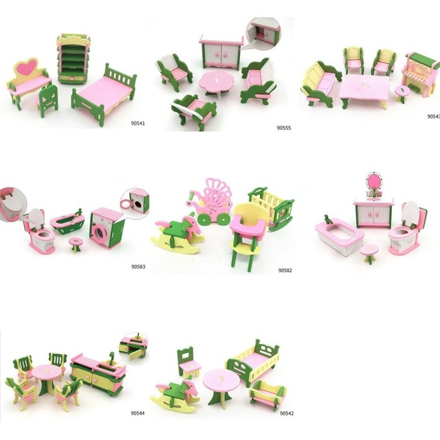 Kids Pretend Role Play House Wood Toy Set Kitchen Babies Room Living Room Mini Ornaments Toys Kit Birthday Gift 4