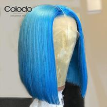 COLODO Bob Lace Front Wigs Brazilian Remy Blue Short Wig Pre Plucked Baby Hair Orange Full Lace Human Hair Wigs for Black Women