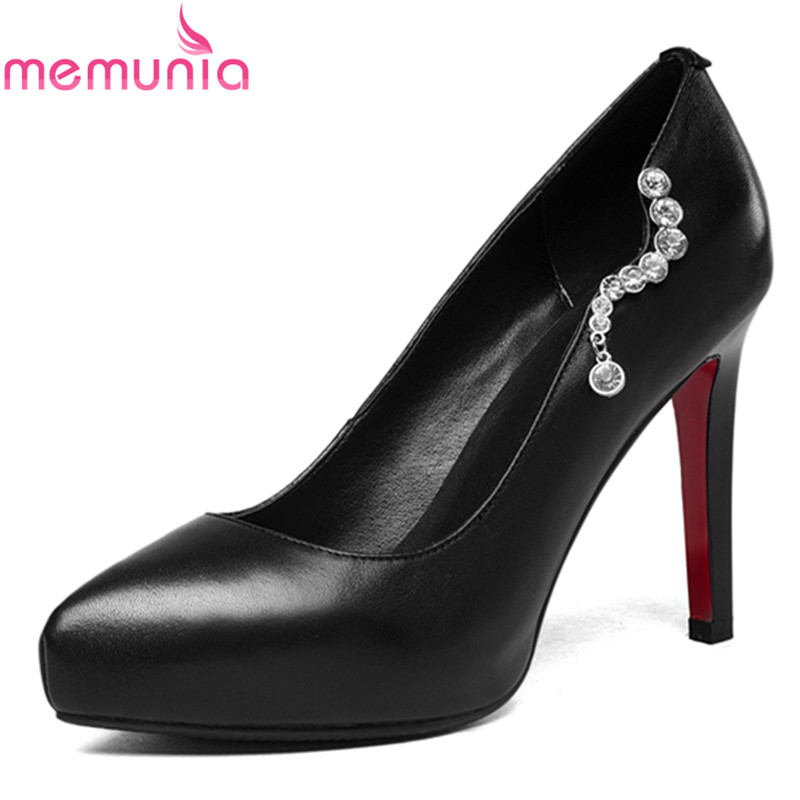 MEMUNIA 2018 popular new arrive sexy high heel shoes stiletto high heels pointed toe platform genuine leather women pumps memunia 2018 new arrive women pumps