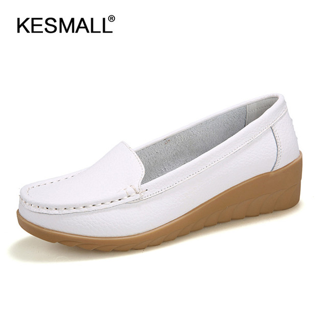 Zapatos de mujer 2018 cuero genuino oferta zapatos planos moda Casual Slip  On Soft mocasines primavera c6cf4b922061