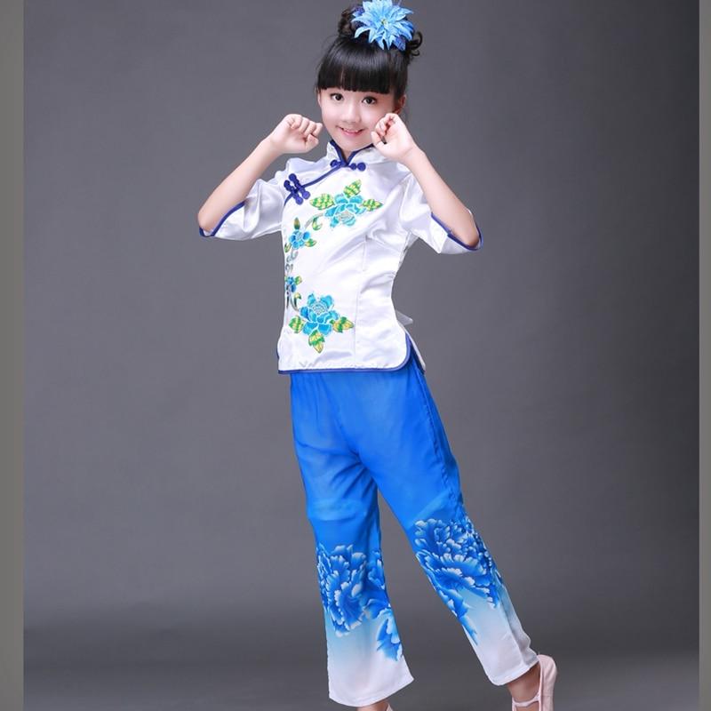 Kitajski narodni ples Otroška plesna oblačila Dekle Fan Drum Dance - Odrska in plesna oblačila