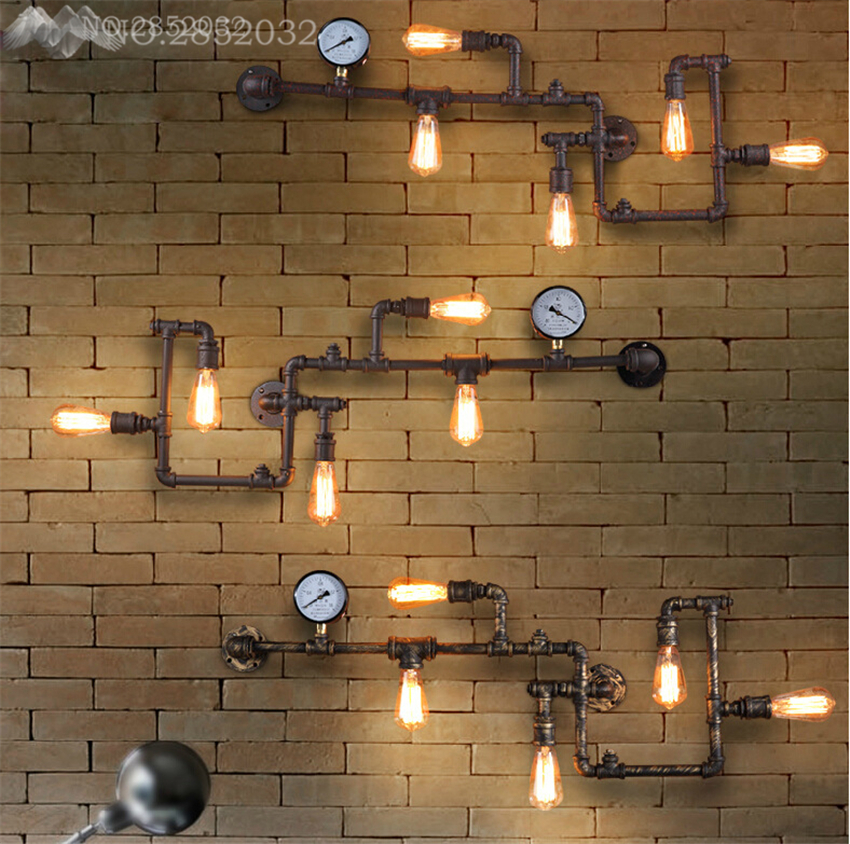 Steam punk Loft Industrial iron rust Water pipe retro wall lamp Vintage E27 sconce lights for living room restaurant bar bedroomSteam punk Loft Industrial iron rust Water pipe retro wall lamp Vintage E27 sconce lights for living room restaurant bar bedroom