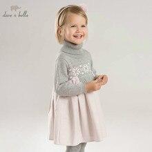DB8430 דייב bella סתיו תינוקות תינוקת של אופנה שמלת ילדי מסיבת יום הולדת שמלת פעוט ילדי צמר שמלה