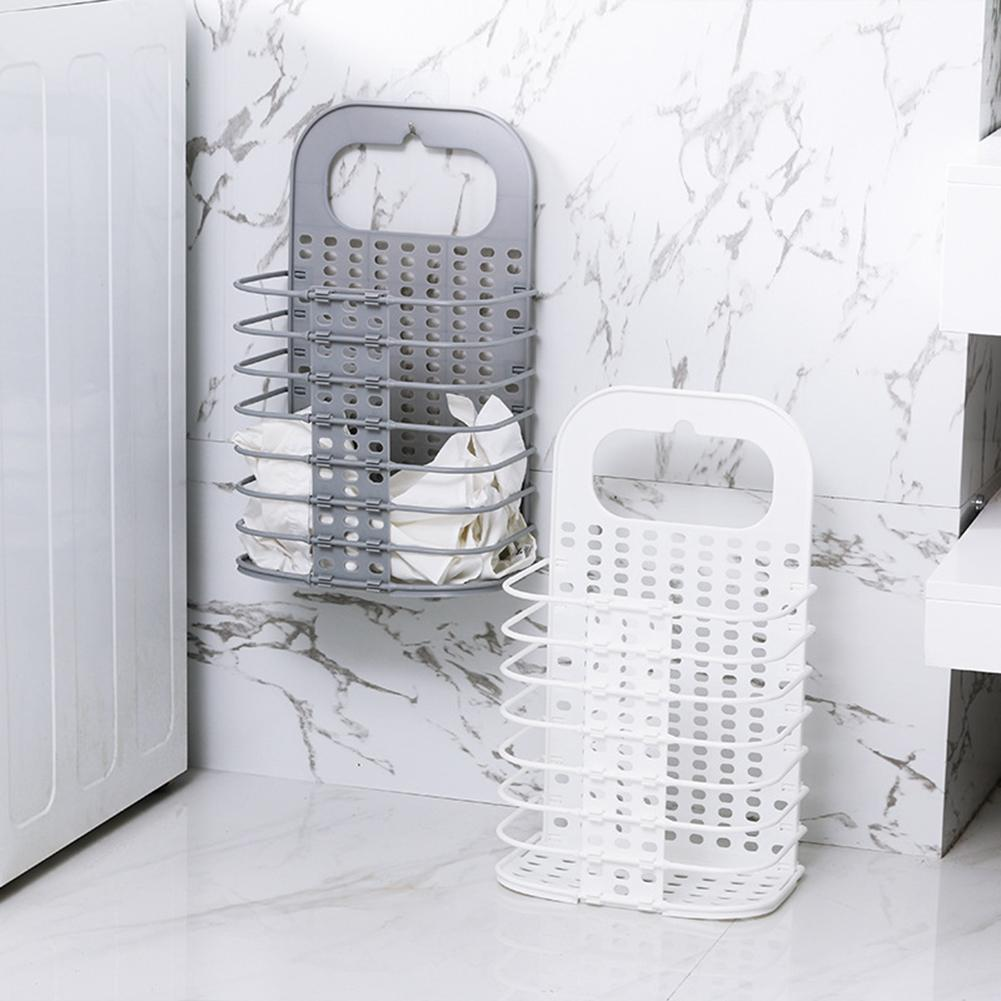 Wall-Mounted Portable Plastic Hollow Foldable Laundry Basket Dirt Clothes Sundries Toys Storage Bucket Home Organizer Holder