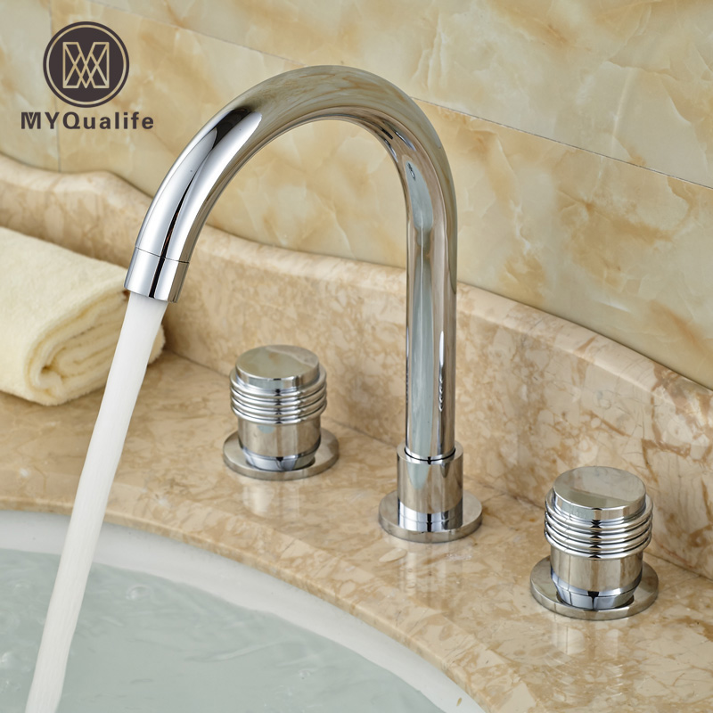 цена на Modern Brass Chrome Deck Mount Bathroom Basin Faucet Dual Handles Lavatory Sink Mixer Taps