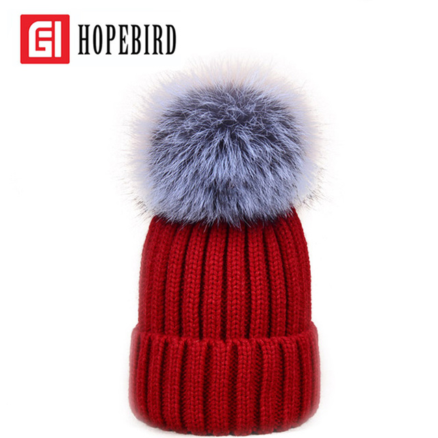 Real Silver Fox Fur Fashion Hat Pompon Warm With Thick Wool Hats Pom Women Winter Beanie Caps New Female Knitted Cap