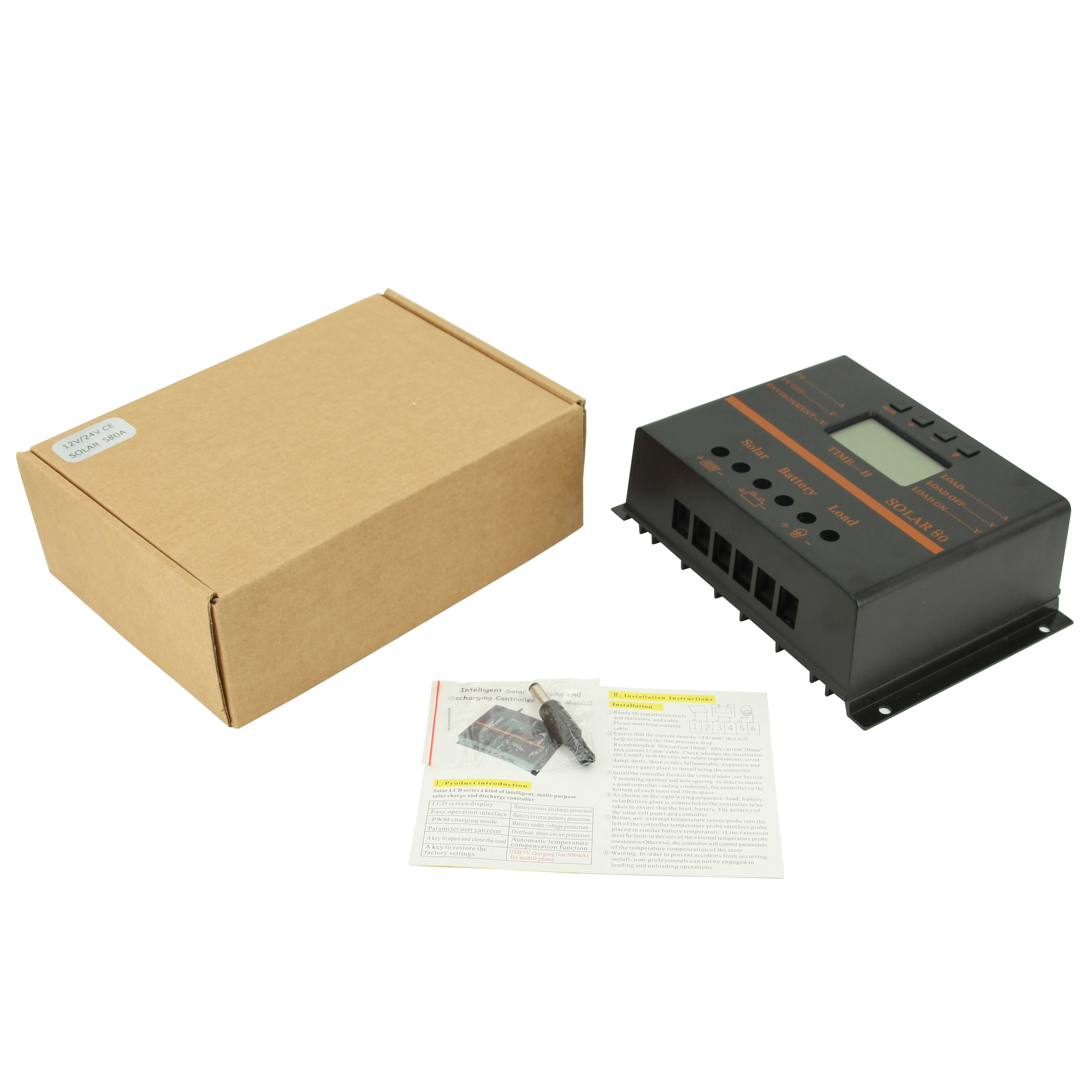 80A 60A Solar Panel Charge Controller 12V 24V Auto LCD USB Solar Battery Charger High Efficiency Solar 60 Solar80 PWM Regulator
