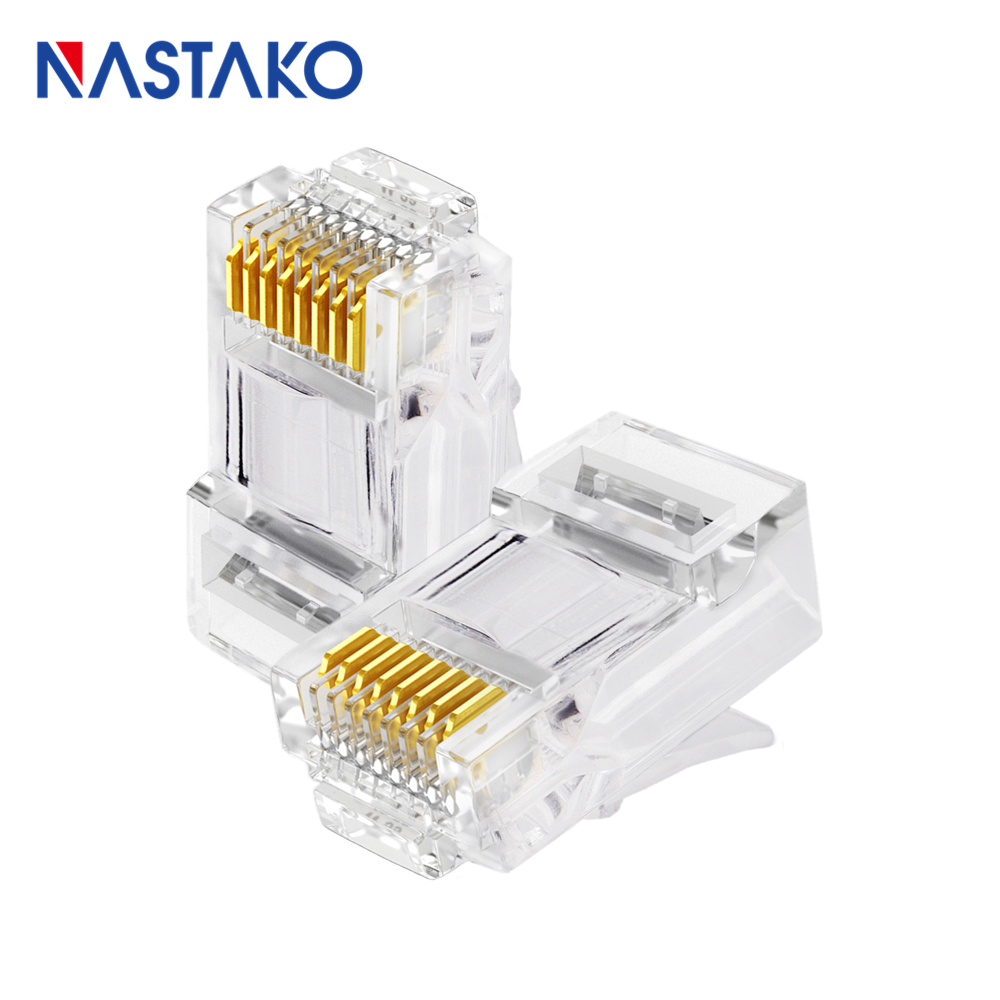 Nastako 50pcs Ez Rj45 Cat5 Cat5e Cat6 Connector Cat 5 Wiring Diagram Wall Jack Keystone Prise Network Utp Cable Plugs Unshielded Modular Have Hole In Computer Cables