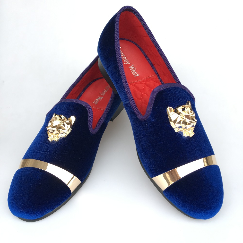New Handmade Men Gold Buckle Loafers Slippers Shoes Men Blue Velvet Shoes with Red Bottom Party and Wedding Slip on Men't Flats handmade red suede men shoes with gold rhinestone and gold toe metal party and banquet men dress loafers male s flats