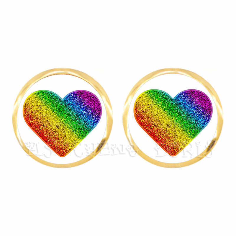 Gay Pride Rainbow Hypoallergenic Ear Nail Lesbian LGBT Glass Dome Cabochon Golden-Plated Stud Earrings For Women Men Lover Gift