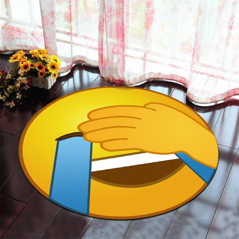 Round Carpet Funny Emoji Printed Soft Carpets Anti-slip Rugs Cartoon Computer Chair Mat Floor Mat for Home Kids Room