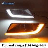 SMRKE DRL For Ford Ranger T6 Update 2015 2017 Car LED Daytime Running Lights Yellow Turn