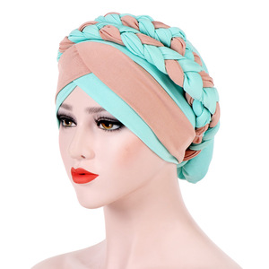 Image 1 - Muslim Women Milk Silk Double Braid Turban Hat Bonnet Beanies Cap Hijab Headwear Hair Protector Head Wrap Hair Accessories