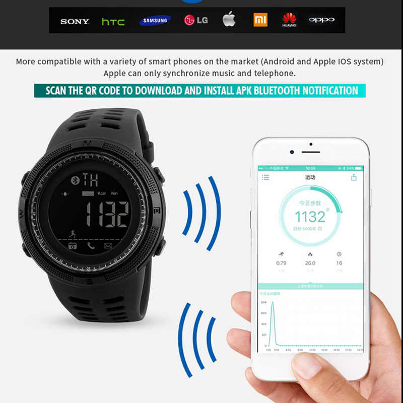 Smartwatch For IOS Android Sport Watch Men Calorie  Pedometer Remote Digital Men's Smart Watch Relógio inteligente SKMEI