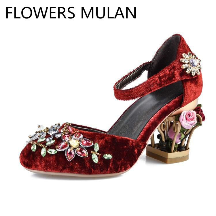 Luxury Velvet Upper Women Sandals with Colorful Rhinestone Flowers Wedding Shoes Round Toe Metal Cut-outs Floral Heels ZapatosLuxury Velvet Upper Women Sandals with Colorful Rhinestone Flowers Wedding Shoes Round Toe Metal Cut-outs Floral Heels Zapatos