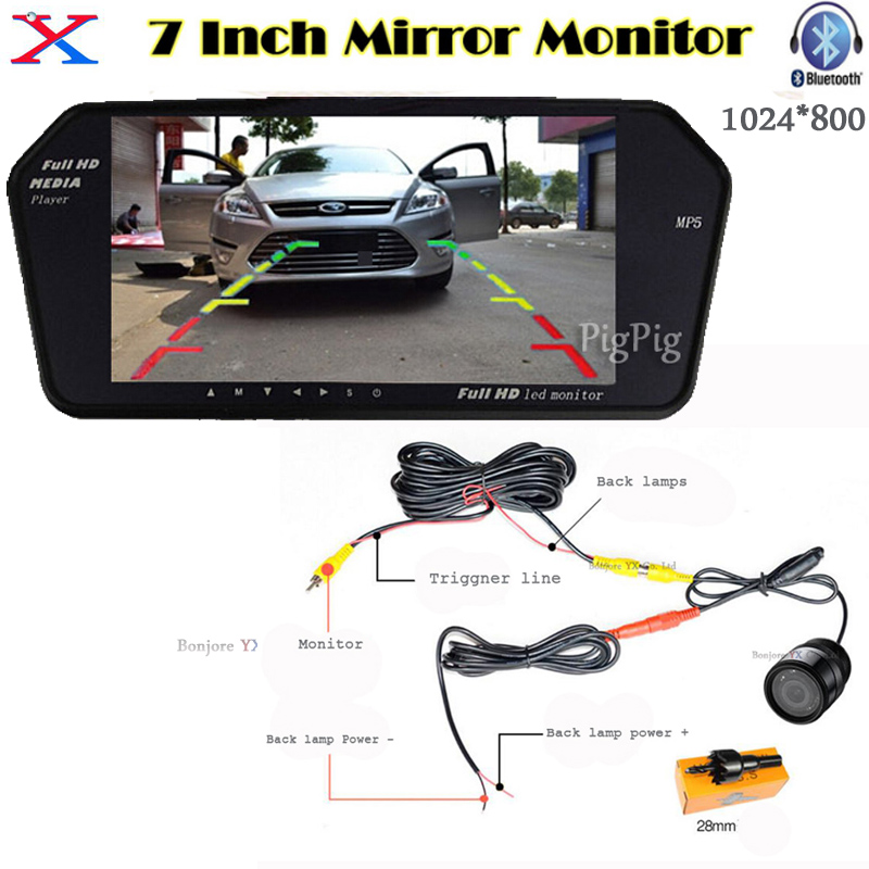HD 7 InchTFT LCD Display 1024*600 Auto Mirror Monitor Bluetooth MP5 with USB/SD Slot +Car  RearView Camera Parking System
