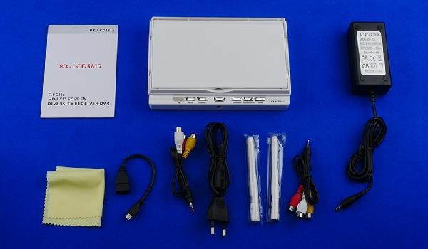7 Dual Antenna Display Built-in 5.8G Diversity LCD Screen Receiver HDMI Battery 1026*600 RC FPV HD Monitor (White) RX-LCD5812