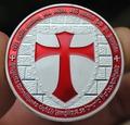 Red Sliver Ancient Coins Knights Templar Crusaders Sliver Medal Coin Souvenir Medals Crafts Coins