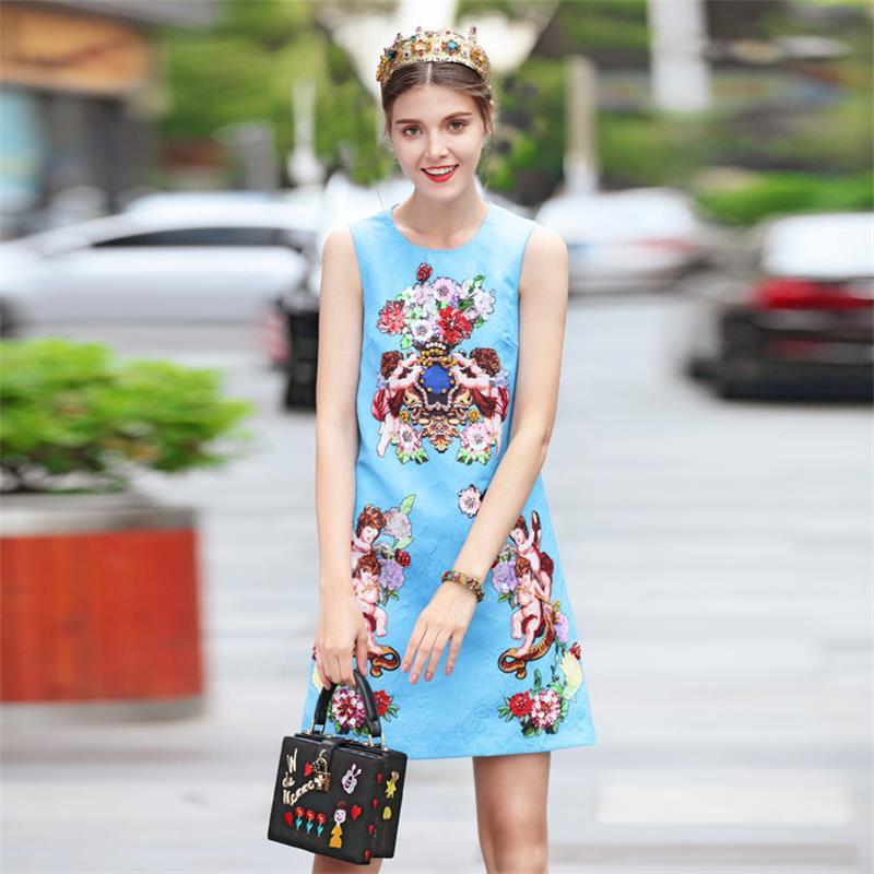 Women Dresses 2018 High Quality Designer Runway O neck Sleeveless Print Beading Dress Vestidos Casual Dress