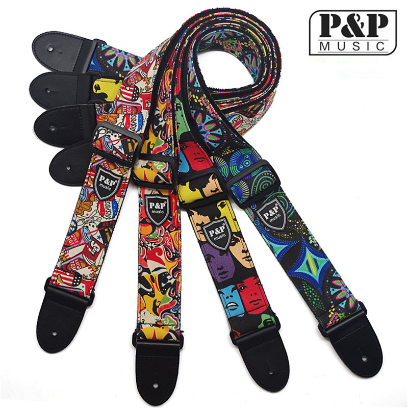 P&P Acoustic Guitar Belt  Electric Guitar Straps Cotton Material with leather head S116 AD guitar straps cotton belt for small guitar ukulele vertical stripes classic style 11 colors thicken 2016 new arrival best price