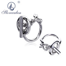 Slovecabin Vintage Men Jewelry Authentic 925 Sterling Silver Lock Wedding Rings bague Femme Marage Argent Rings For Women