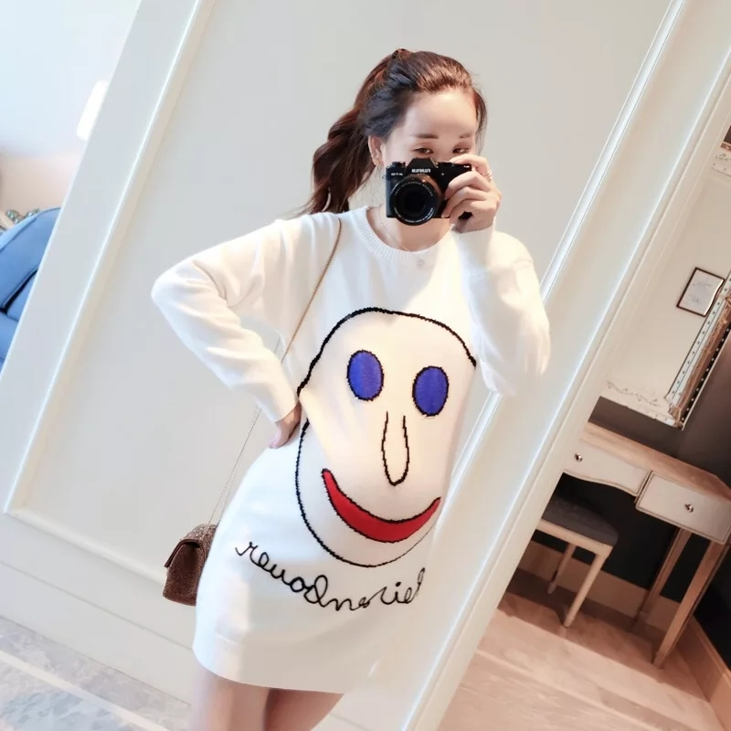2018 new autumn and winter pregnant women in the long paragraph loose sweater sets tide mother Korean fashion dress new fashion spell color dot pregnant hooded sweater korean version of the arutmn and winter fleece warm coat of pregnant women