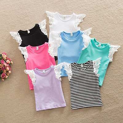 Hot Kids 5 Color Whoesale Baby Girls Summer Casual Lace Patchwork Short Sleeve Cotton T-shirt Tops Clothes Age 0-4Y