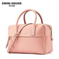 EMINI HOUSE Split Leather Women Handbag Trunk Women Messager Bags High Capacity Shoulder Bag Simple Style