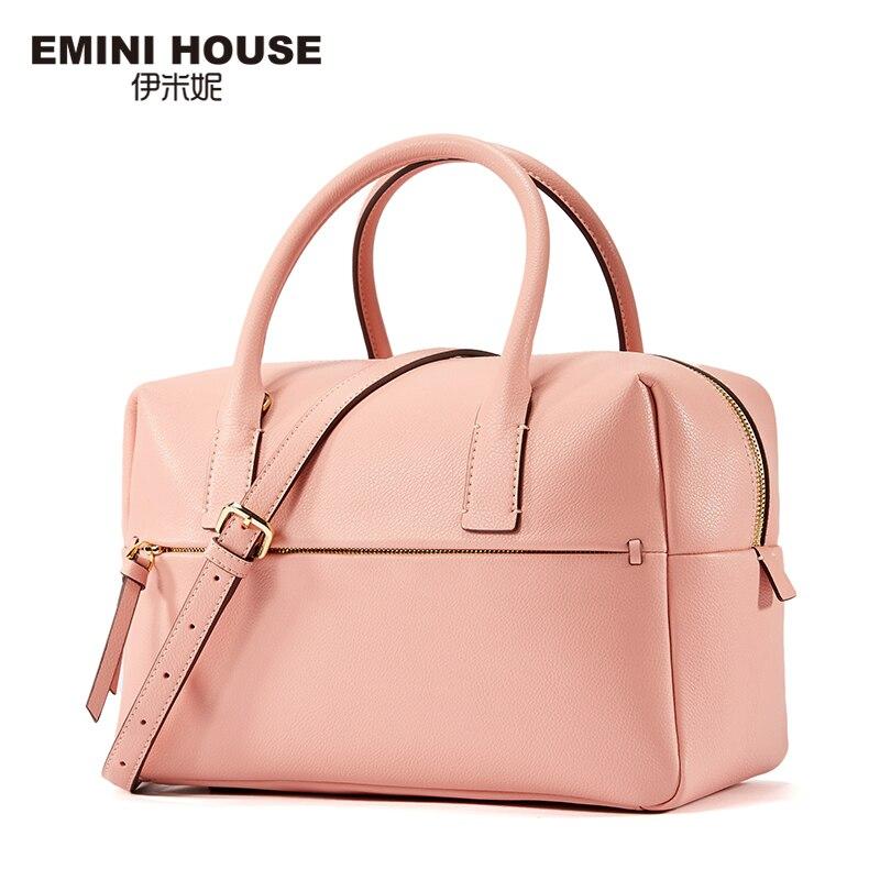 EMINI HOUSE Fashion Boston Bag Split Leather Women Handbag Trunk Women Messager Bags High Capacity Shoulder Bags for Women fashion house