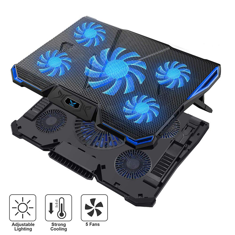 14 17 Inch Notebook Cooler Laptop Cooling Pad Laptop Fan Base Para Laptop Ventilador Laptop Cooling Stand with Five Stong Fans-in Laptop Cooling Pads from Computer & Office