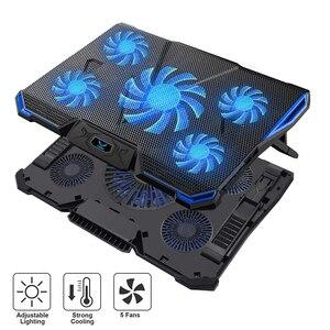 Image 1 - 14 17 inç notebook soğutucu dizüstü soğutma pedi laptop cooler fanı taban Para dizüstü Ventilador dizüstü soğutma standı beş güçlü fanlar