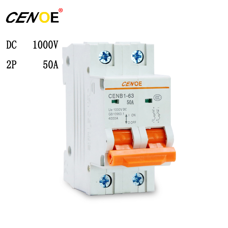 2 pcs CENOE Brand good quality low price DC 1000V 2P 50A dc breaker PV breaker 2p solar Circuit breaker for global B2B market h360zf 3 three phase dc to ac 60a 4 32vdc industrial grade solid state relay set ssr set not not incluidng tax