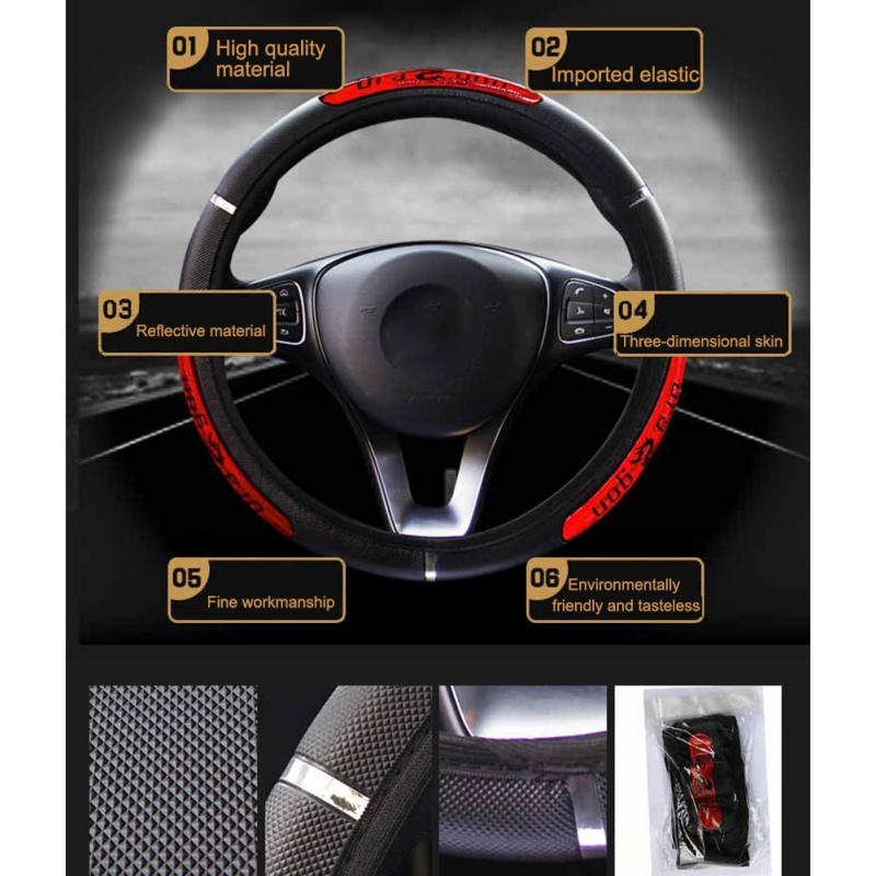 Car Accessorie Universal Leather Car Steering Wheel Cover 38CM Car-styling Sport Auto Steering Wheel Covers Anti-Slip Automotive