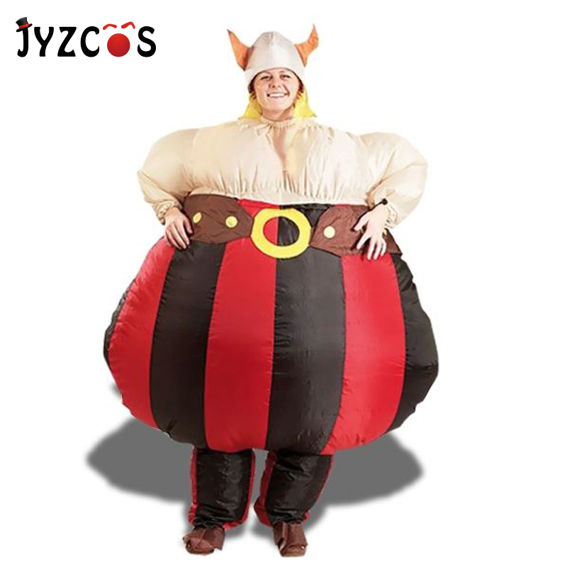 JYZCOS Inflatable Obelix Costume Asterix Obelix Cartoon Obelix Game Character Wickinger Fancy Dress Air Blown Outfit Promotion