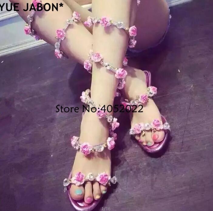 adb1b096a9bd5 YUE JABON Summer Luxurious gladiator sandals women Flat Snake Punk  Rhinestone Flower Flat Heel Women Sandals Wedding Party shoes