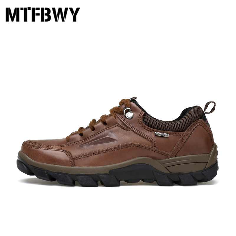 где купить Men's outdoor hiking shoes genuine leather big size shoes for male men Mountain climb camping shoes sneakers size 38-50 8963s по лучшей цене