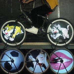 Led rodas quentes luz da bicicleta programável falou luzes app móvel sem fio wifi transferência rodas quentes pneu projeção luz da noite|Luzes noturnas| |  -