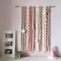 Bohemia hand made hook tapestry ,multi function blanket for table runner, bedside blanket , pink mixed decoration wall hanging,