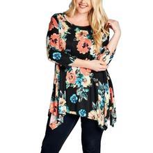 2017 Women Plus Size Floral Three Quarter Sleeve Blouse Oversize Tops XL2XL3XL4XL5XL6XL Loose O-Neck Autumn